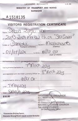 Barbados driving permit