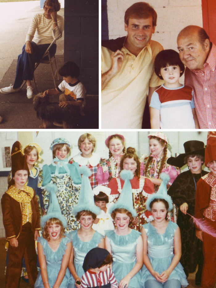 "(L to R) Nancy Kulp, me and ""Toto"",  principal actor, Stubby Kaye (The Lion) and me, munchkin cast (I'm at the bottom)"